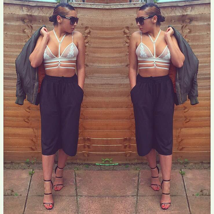 prettylittlething style instagram black culottes white lace bralet heels style fashion