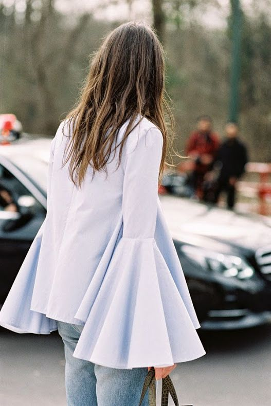 frilly-ruffle-blouse-street-style-fashion-week-bell-sleeve