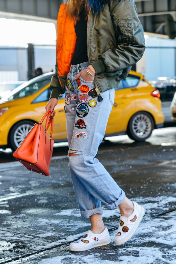 denim+street+style+trends+fashion+week+patches+DIY+jeans