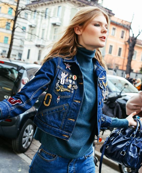 denim+street+style+trends+fashion+week+patches+DIY+model