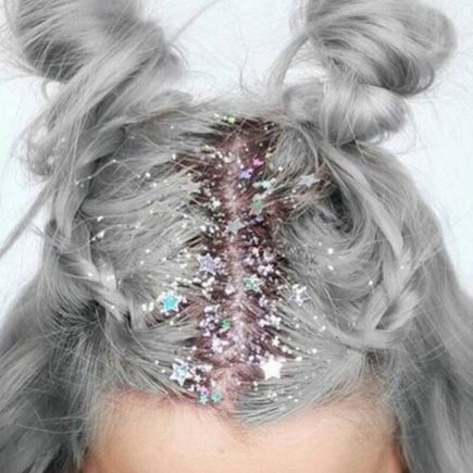 Glitter roots, hair, glitter, festival, buns, colour, sparkle, prettylittlething, fashion, style, inspo
