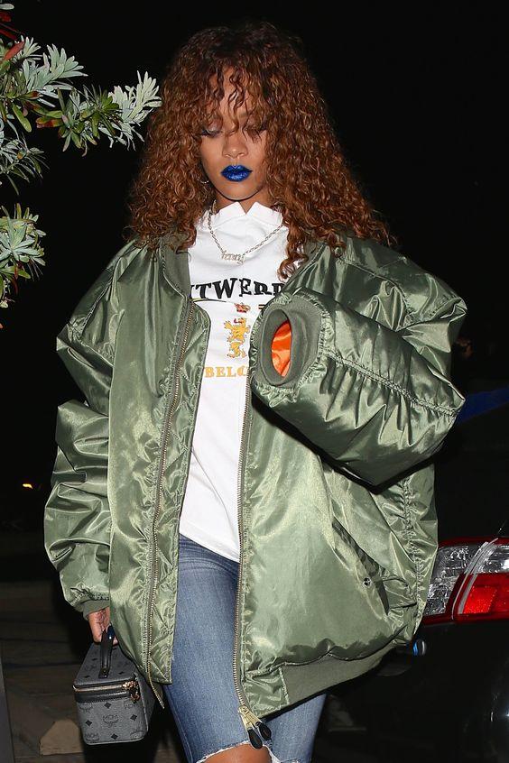 rihanna-street-style-blue-lipstick-bomber-jacket