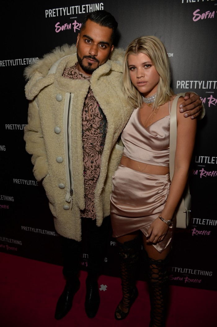 Umar Kamani and Sofia Richie arrive at the Sofia Richie x Pretty Little Thing Party at Tape London, UK
