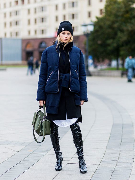 street-style-blogger-model-puffa-coat-jacket-hoodie-thigh-high-boots