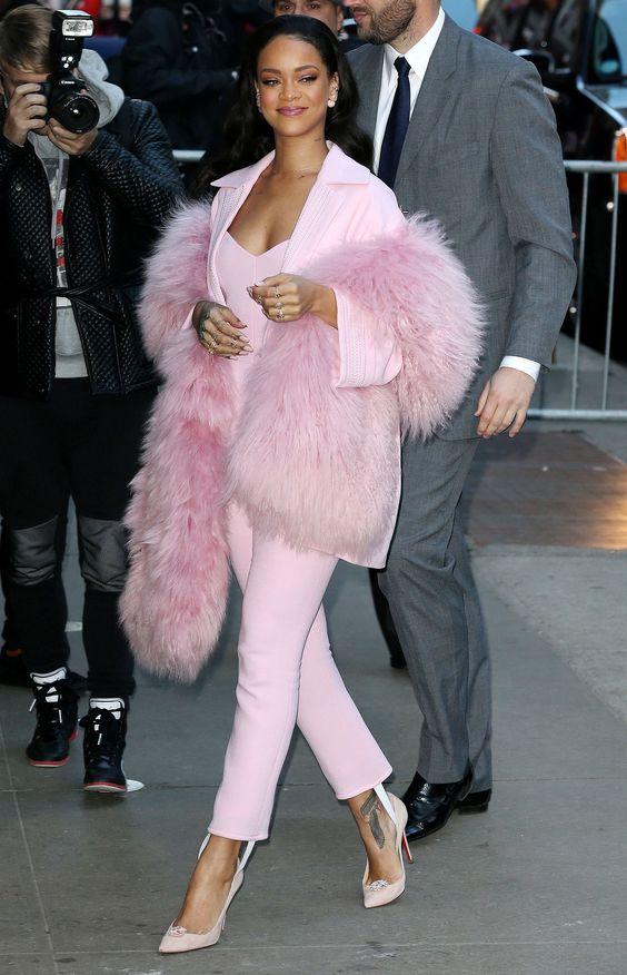 rihanna pink suit fur style