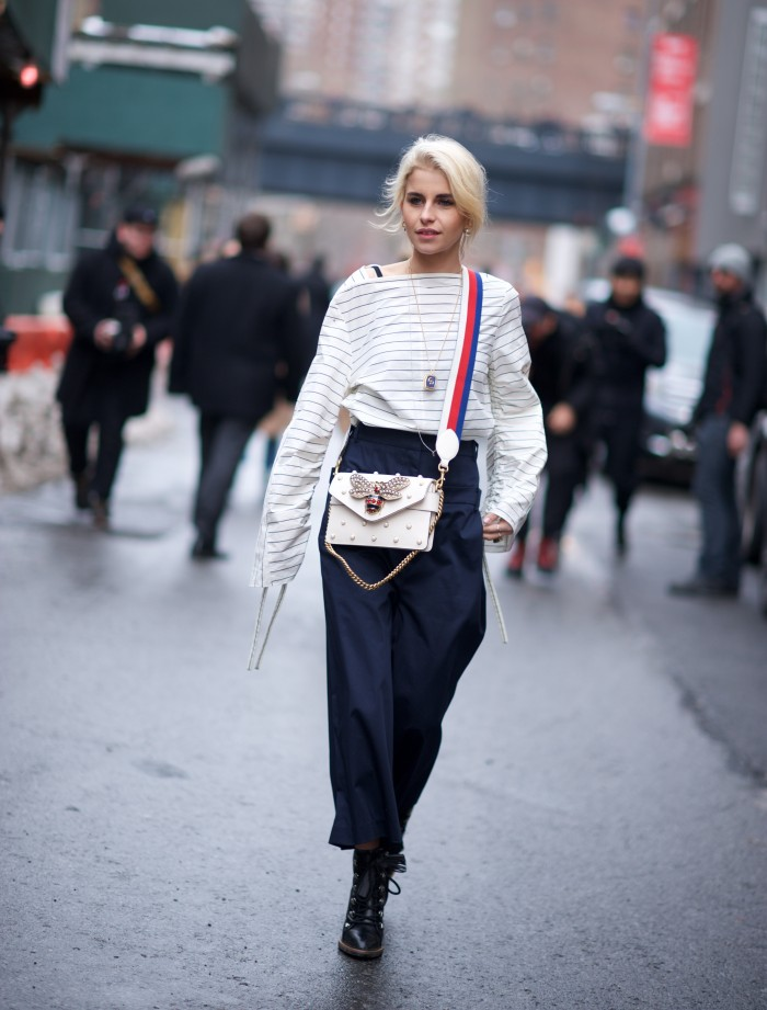 karen blanchard street style photography NYFW stripes