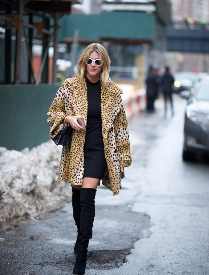 karen blanchard street style photography NYFW leopard print coat