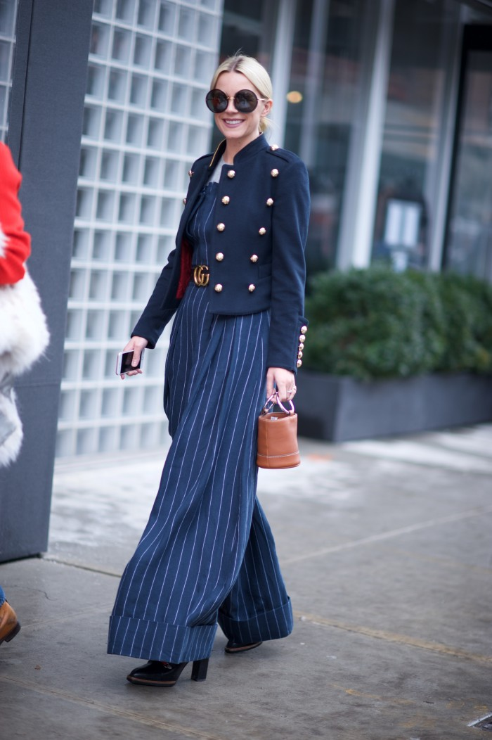 karen blanchard street style photography NYFW jumpsuit stripes