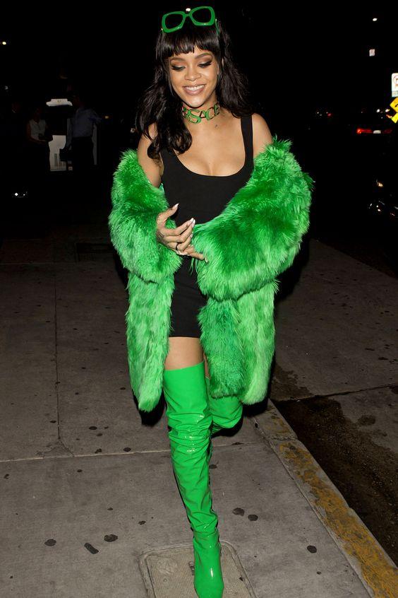 rihanna green fur coat style