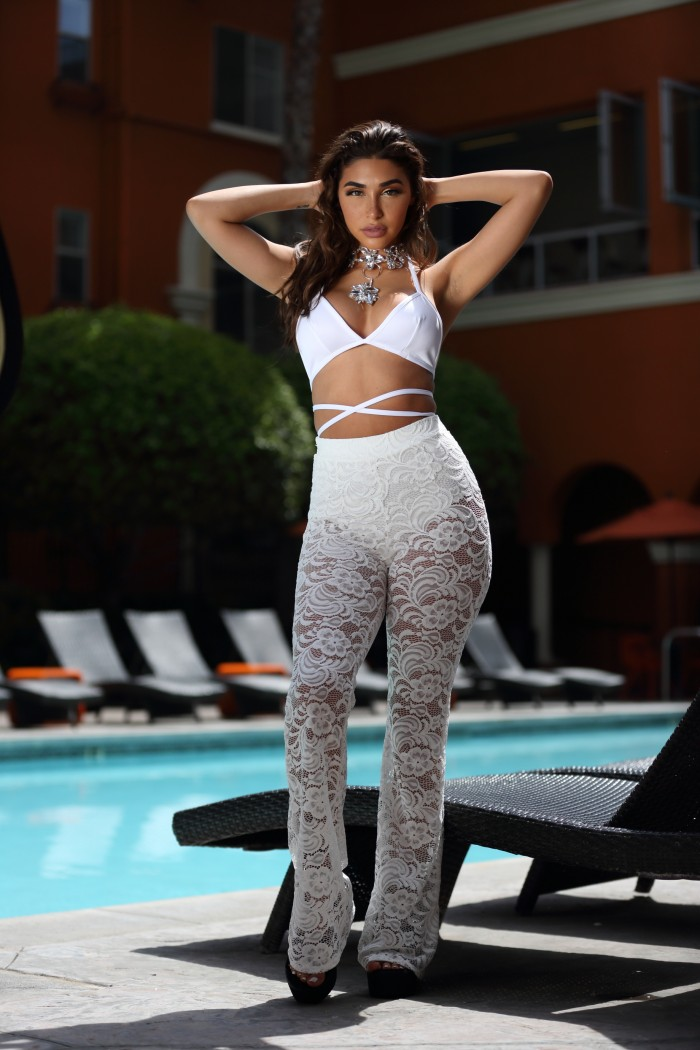 chantel jeffries festival lookbook lace flares style bralet