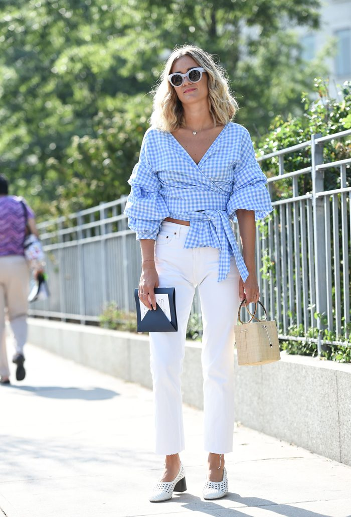 blogger gingham streetstyle inspo blouse wrap top