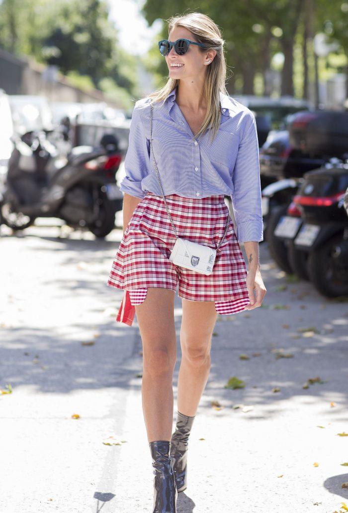 blogger gingham streetstyle inspo skirt