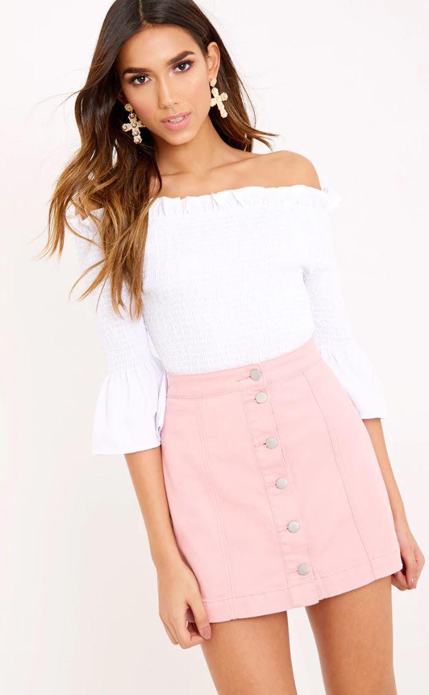 cammie pink denim skirt