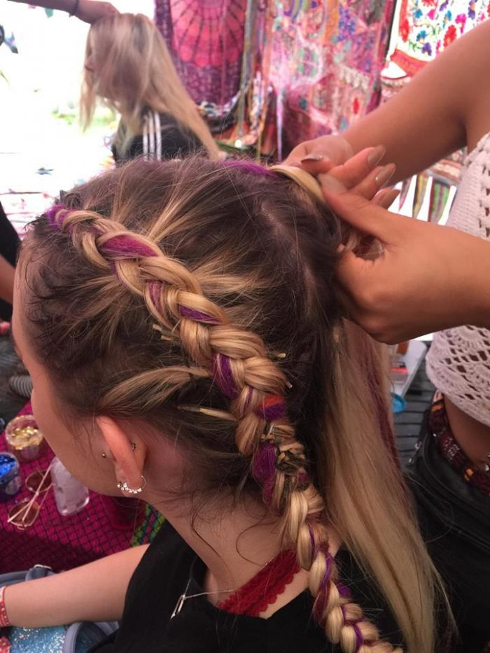 gypsy shrine festival hair glitter face braids