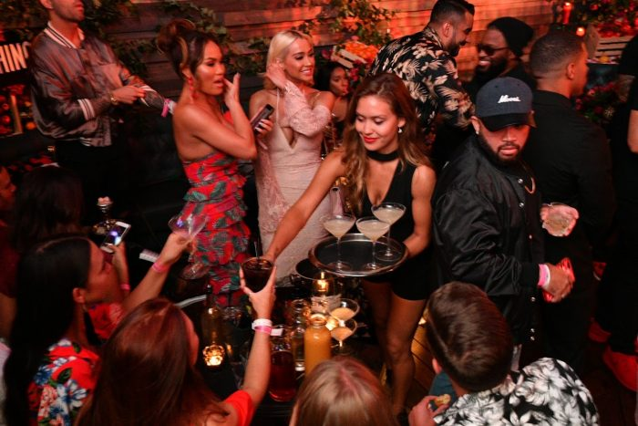 prettylittlething x olivia culpo party LA crowd drinks