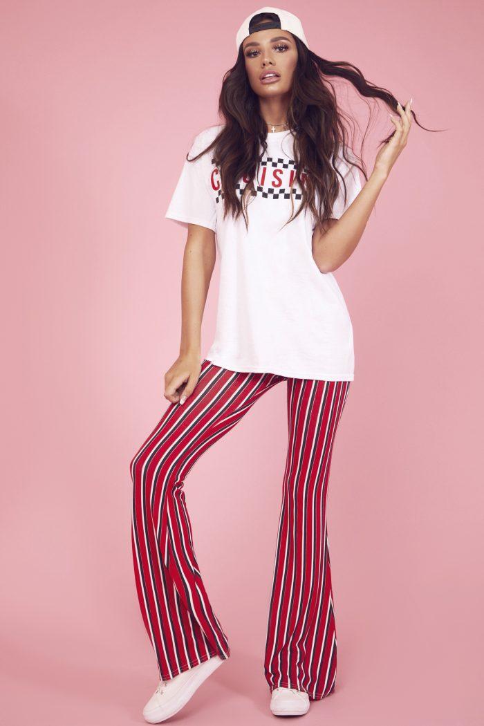 jersey vertical stripe trousers