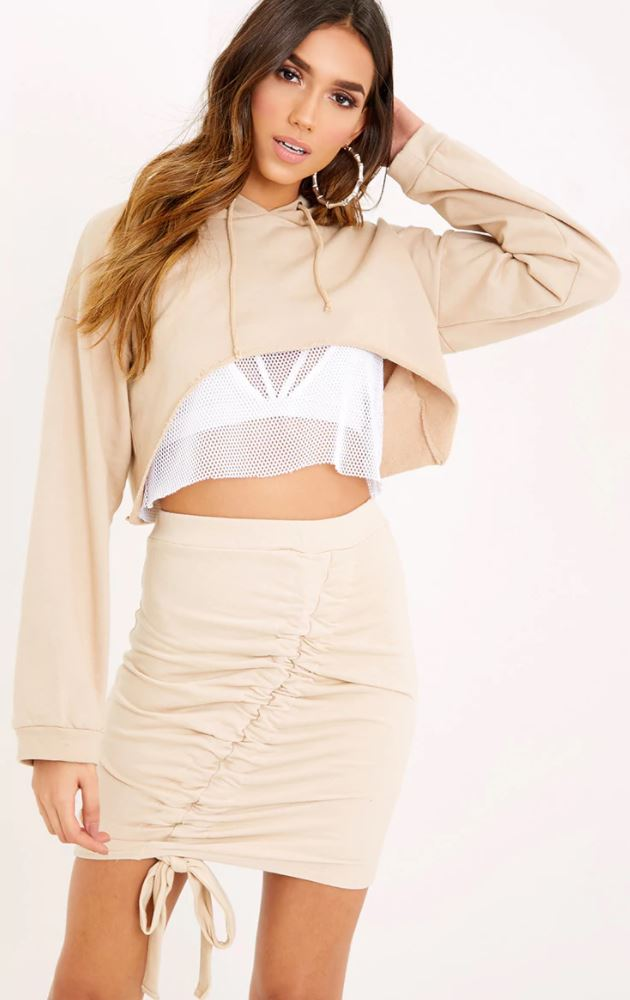 ruched tie skirt