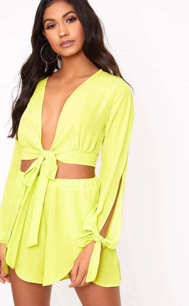 LIME SHEER FRONT WRAP BEACH SHORTS