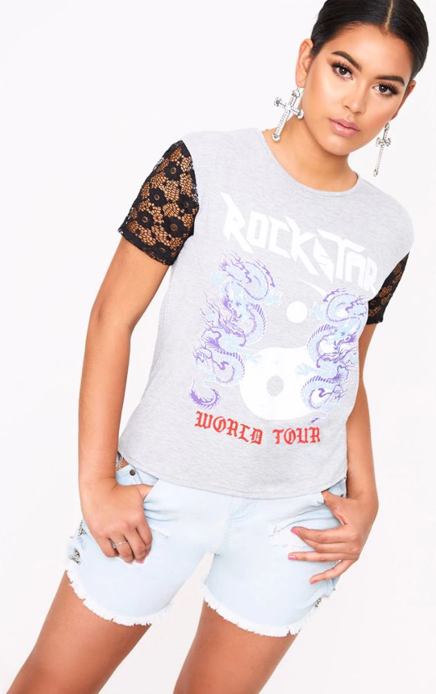 GREY ROCKSTAR SLOGAN LACE SLEEVE T SHIRT